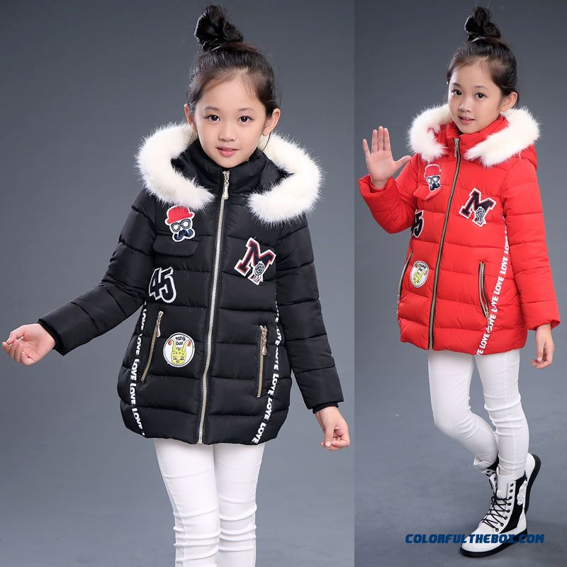 Pretty Stylish Design For Kids Girls With White Fur Collar Warmth Red Black Coats Free Shipping
