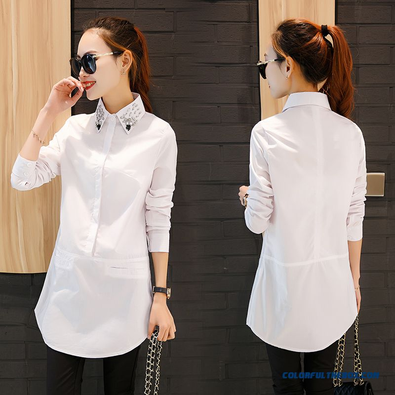 Print Button Pink White Blue All-match Professional Blouse Long-sleeved Shirt Bottoming For Women