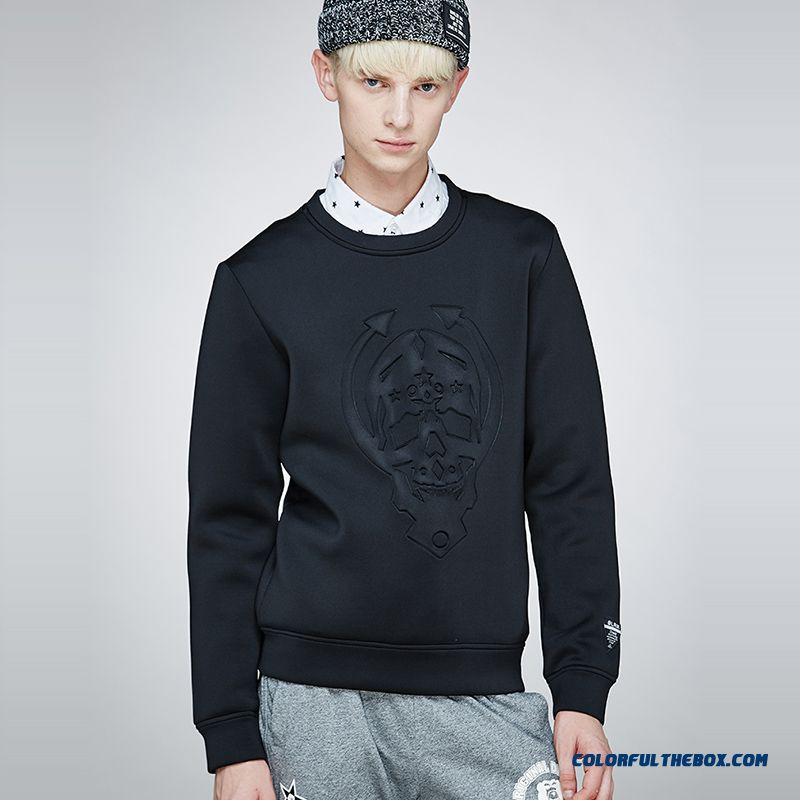 Printing Fashion Cotton Men's Clothing Round Neck Sweatshirts Coats Pullover Solid Color Black Tide
