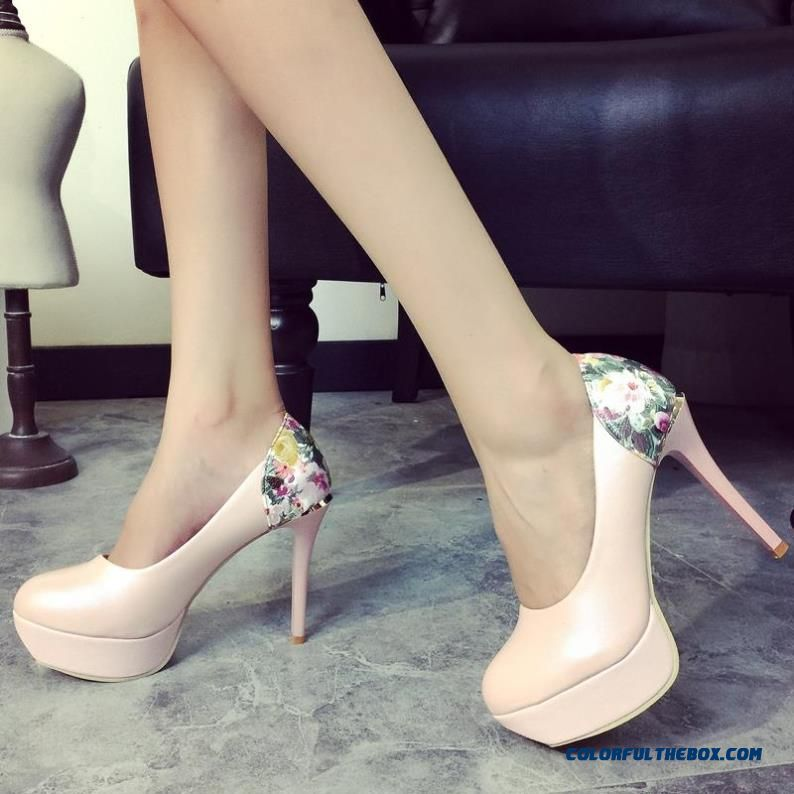Printing Pumps Waterproof Bottom Shallow Mouth Fine Heel High-heeled Sequined Ladies' Shoes