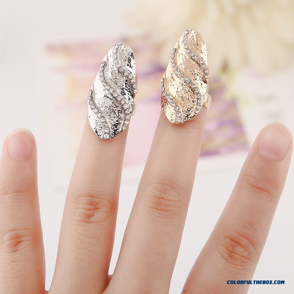 Private Label Women Wholesale Set With Diamonds Wave Pattern Nail Ring Jewelry