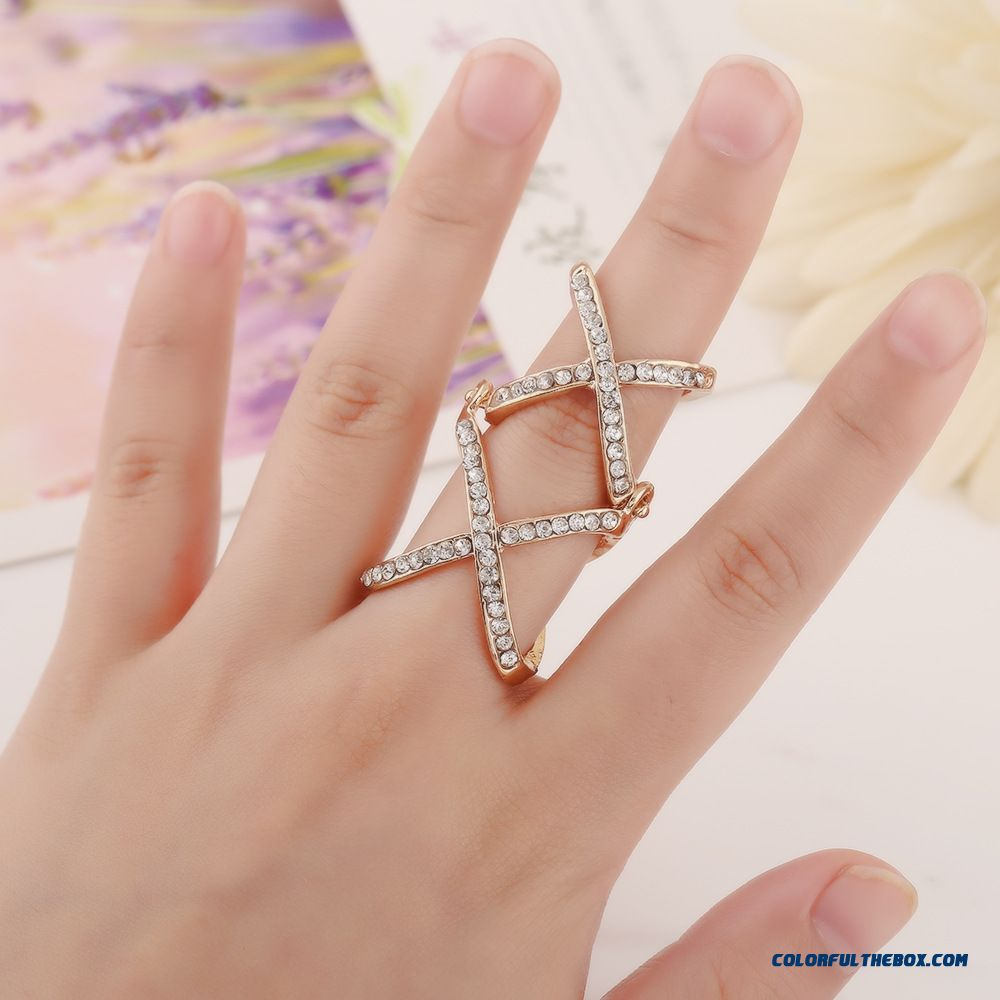 Product Available Europe Hot Selling Personalized Diamond Double Cross Joint Adjustable Women Rings Sewelry