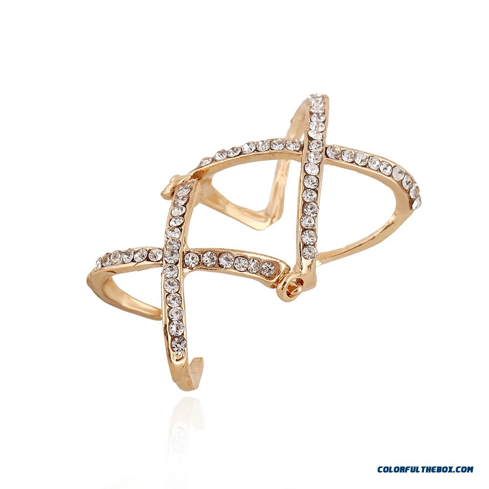 Product Available Europe Hot Selling Personalized Diamond Double Cross Joint Adjustable Women Rings Sewelry - more images 2
