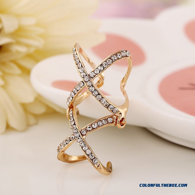 Product Available Europe Hot Selling Personalized Diamond Double Cross Joint Adjustable Women Rings Sewelry - more images 4