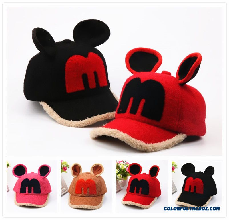 Promotion New Arrival Winter Baby Mickey Plus Velvet Warm Peaked Cap Boys And Girls Kids Baseball Caps