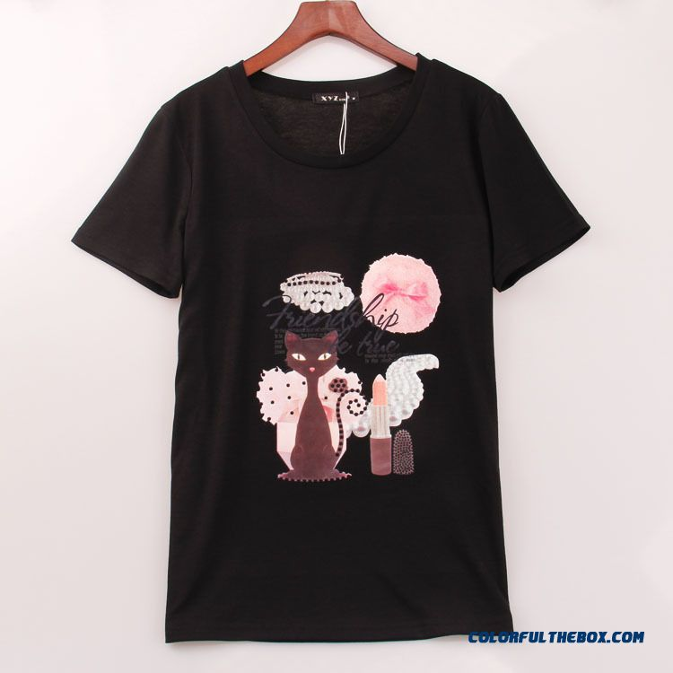 Promotion New Arrival Women Summer Blouses Cartoon Printed Crew Neck Short Sleeve T-shirt White Black
