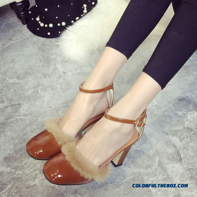 Pumps Bright Surface Buckle Women Shoes European And American Style Of Fur Decorative Women Shoes Tide