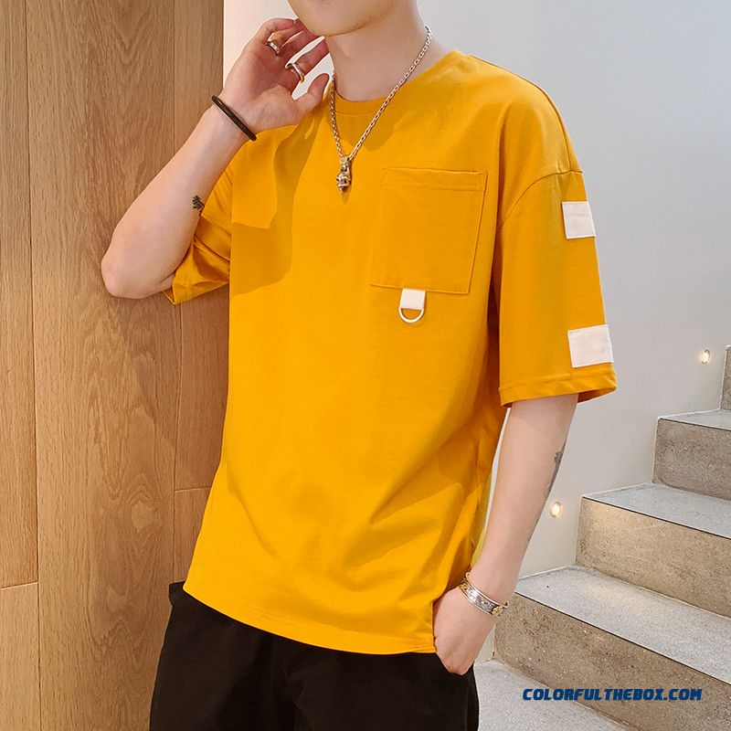 Pure Cotton Personality Coat Skinny Student Loose Short Sleeve Printing Yellow Trend Summer T-shirt 2019 Flower Men's New