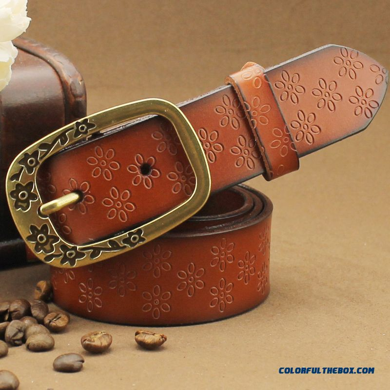 Pure Cowhide Genuine Leather Belt Ladies Accessories Women Casual Retro Wide Cummerbuns