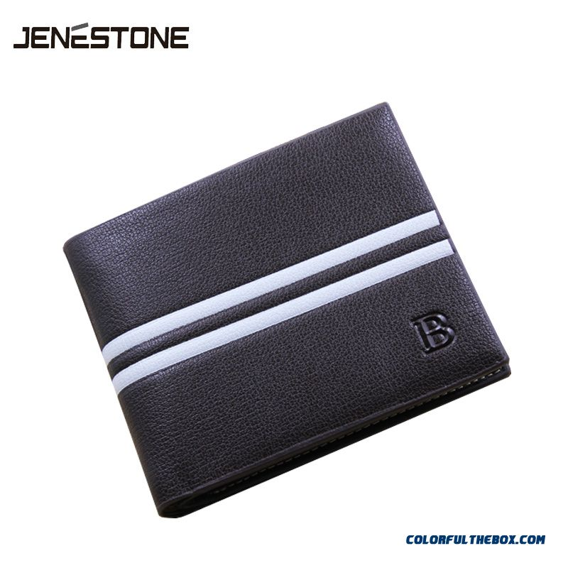 Quality Bags Men Short Wallet Horizontal Wallets Casual White Stripes Vertical Wallets