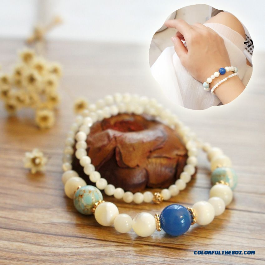 Quiet And Elegant Women Blue Agate Tridacna White Bay Double Ring Bracelets Jewelry Hot Bangles