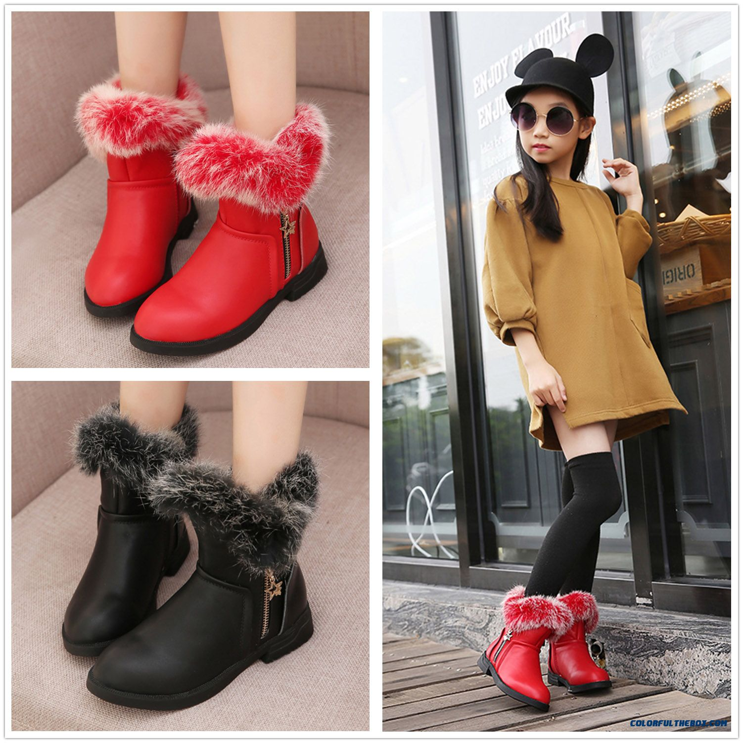 Rabbit Di Girls Boots Winter 2015 Boots Korean Version Of Kid's Shoes