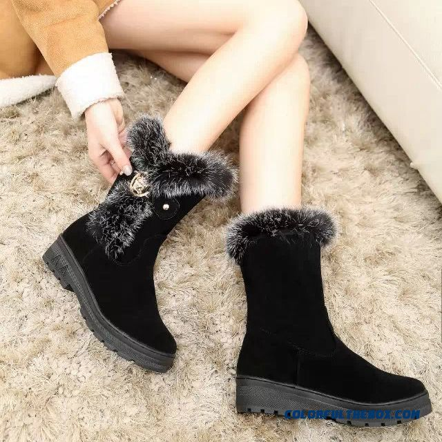 Rabbit Fur Boots Winter Snow Boots Plus Velvet Plus Cotton Thick Bottom Women Shoes