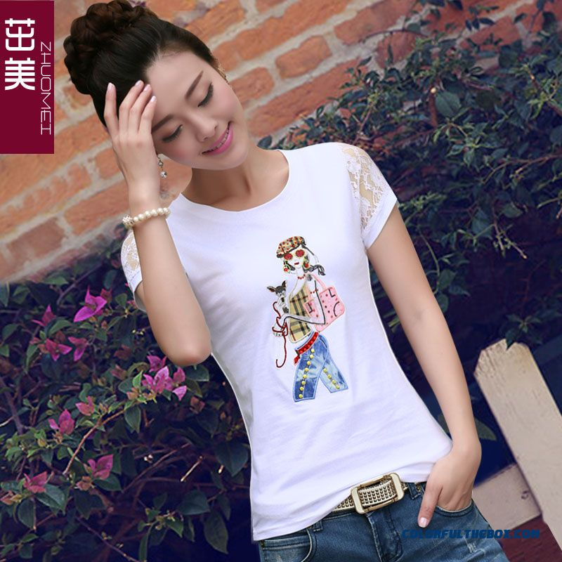 Reasonable Price Lace Short-sleeved T-shirt Women Large Size Crew Neck White Fashion