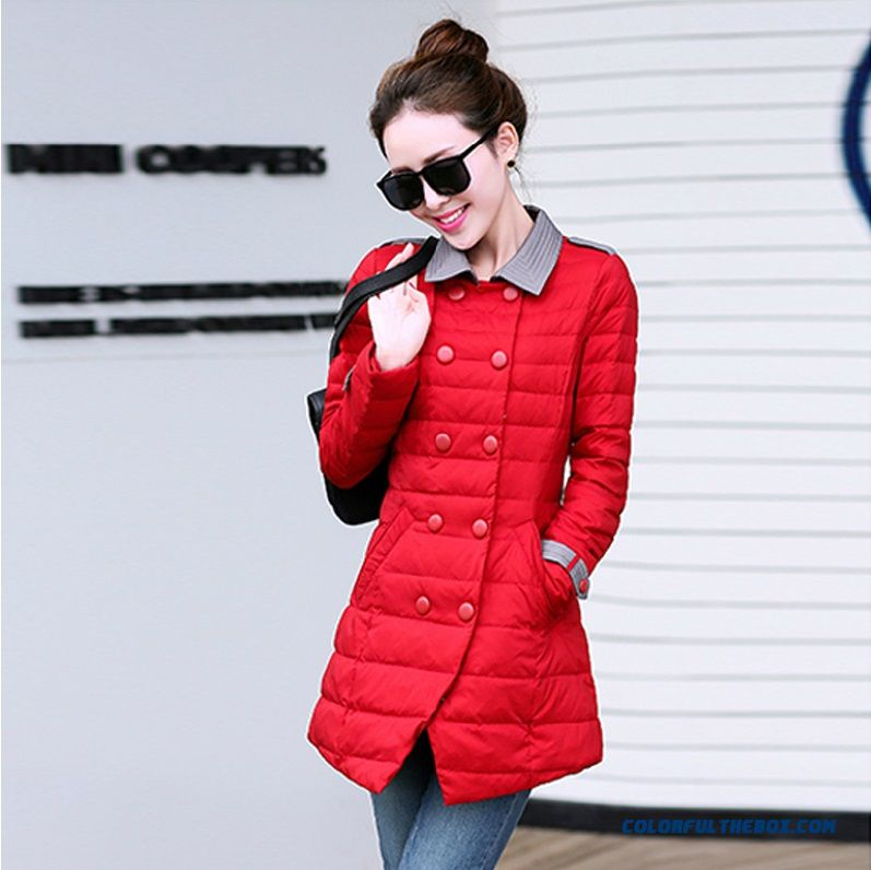 Reasonable Price New Winter Women's Jacket Red Slim Medium Style Elegant Soldes
