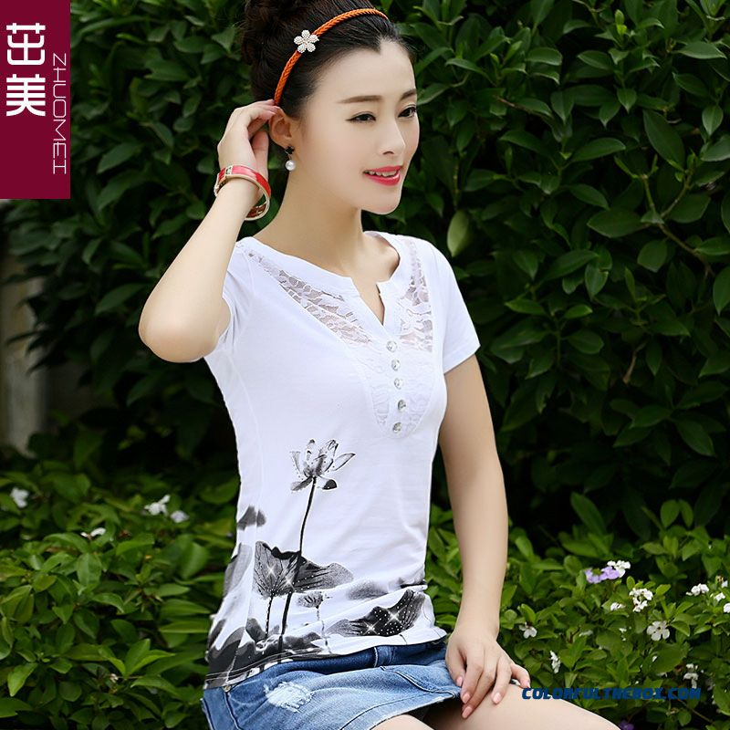 Reasonable Price Short-sleeved T-shirt Women Lace V-neck Lotus Printing Sexy