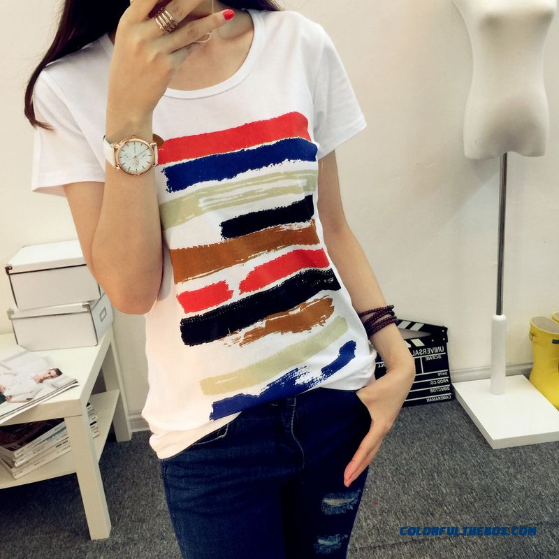 Reasonable Price Short-sleeved T-shirt Women Striped Slim Free Shipping