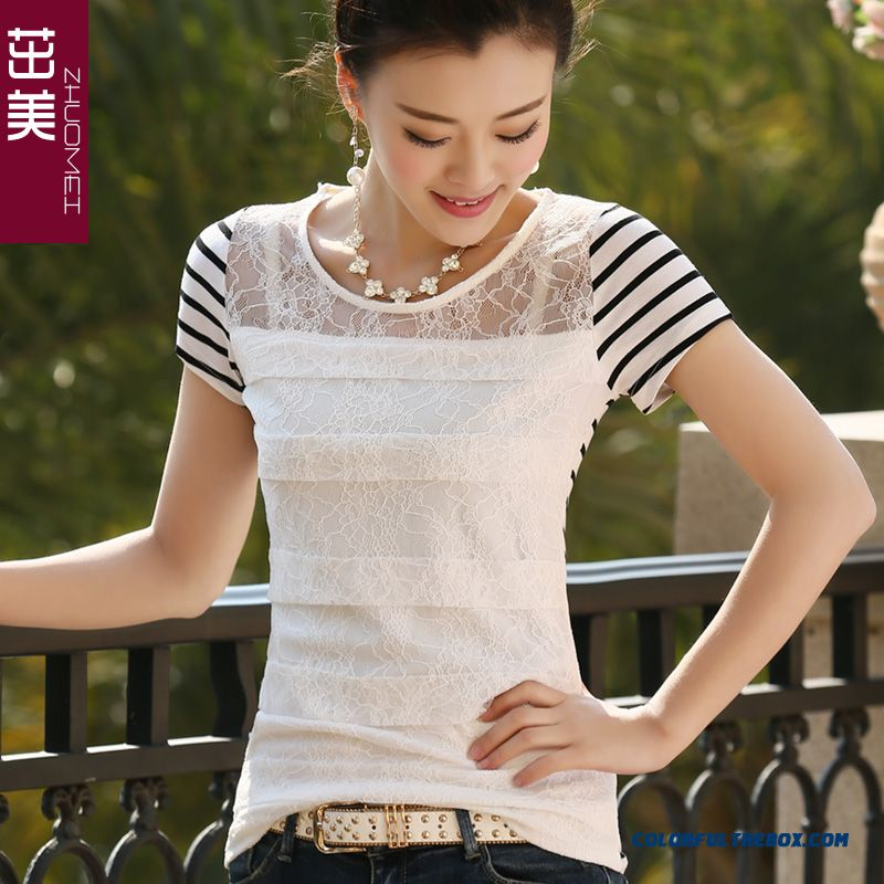 Reasonable Price Stripe Splicing Embroidery Back Hollow Lace Short-sleeved T-shirt Women
