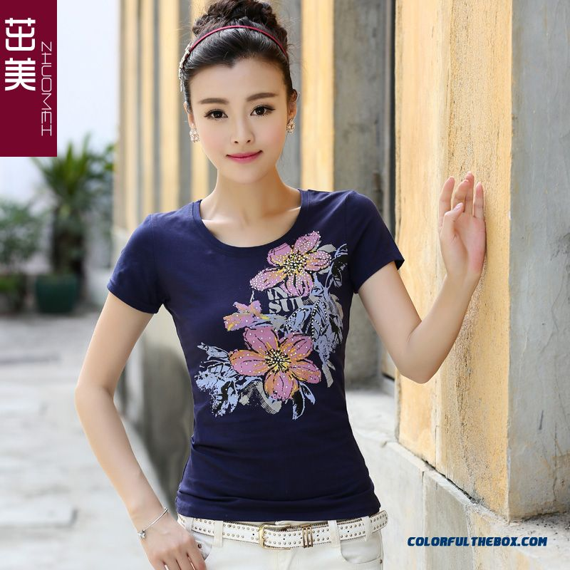 Reasonable Price Summer T-shirt Women Thin Lace Crew Neck Printed Short-sleeved