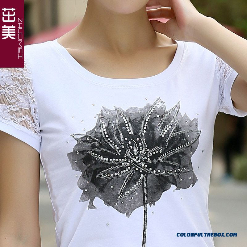 Reasonable Price Women Lace Slim Crew Neck Lace Short-sleeved T-shirt Printing Large Size Vogue