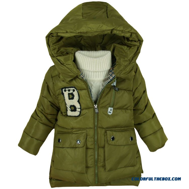 Red Green Black Hooded Coats Keep Warm For Boys Kids Winter Essential Clothing