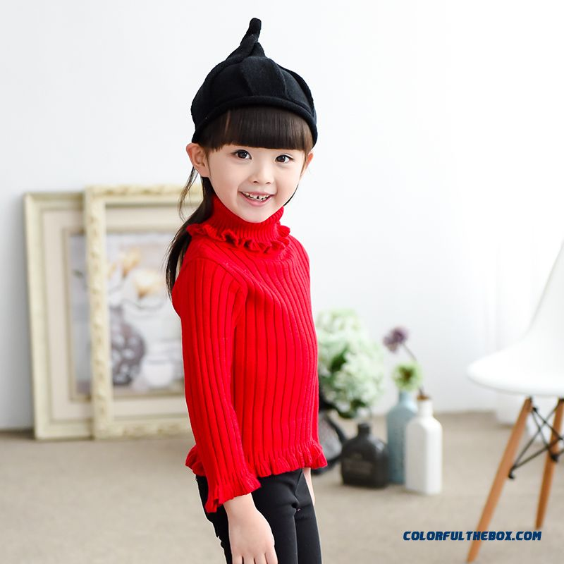 Red Kids Clothing New Autumn Pullover Knit Primer Shirt Sweater Jacket Lapel Lace Girls