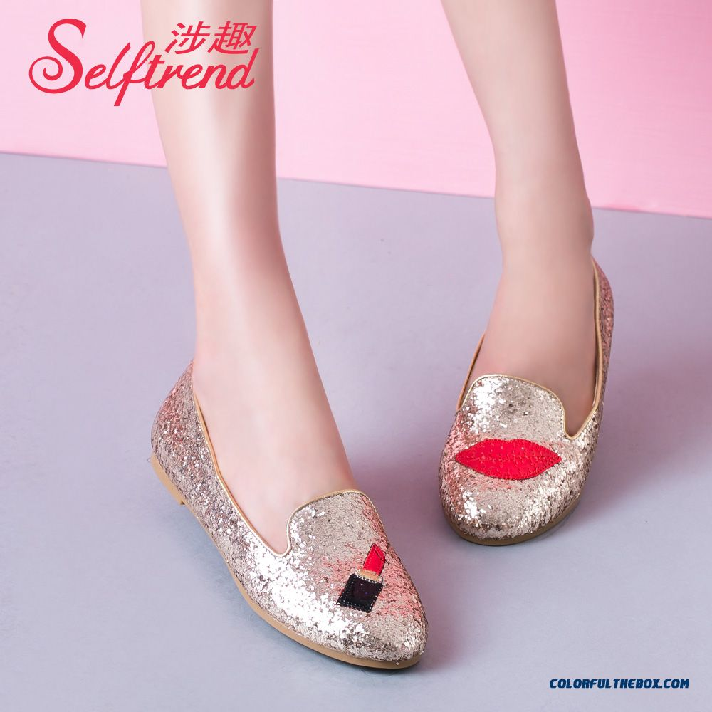 Red Lips Round-toe Flat Bottom Sequins Shallow Mouth Flats Women Shoes