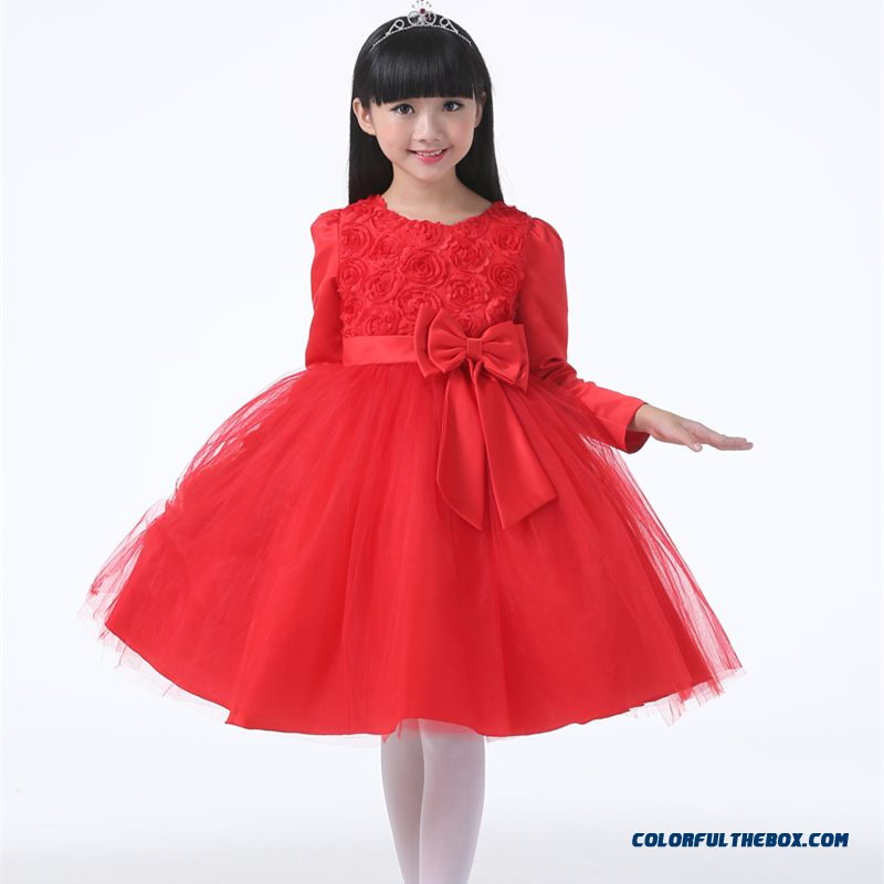 Red Long-sleeved Dress Costumes Vest Kids Birthday Dress For Girls