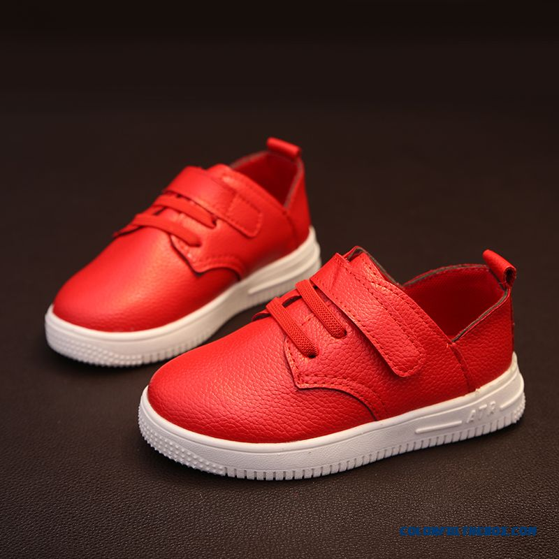 Red White Leather Boys And Girls Low-top Sneakers Fashion Running Shoes