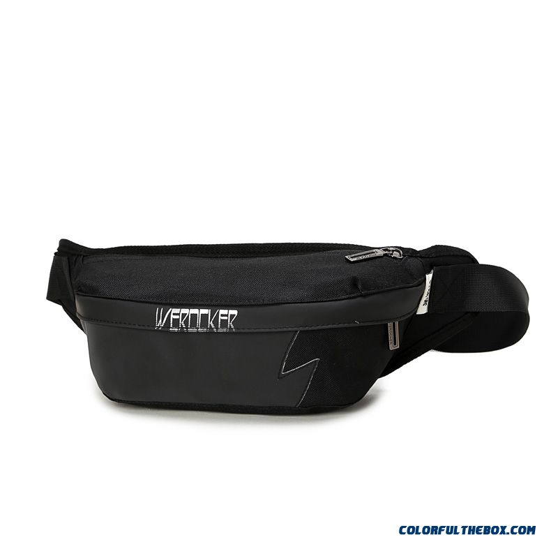 Reflective Black Waist Packs Casual Cycling Shoulder Bag Used By Men