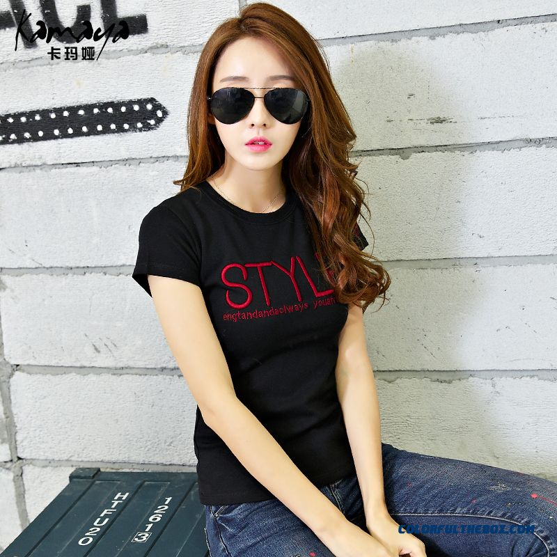 Render Unlined Upper Garment Thicken Short-sleeved Women T-shirt Letters Printed