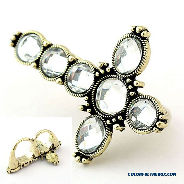 Retro Bicyclic Cross Set With Diamonds Ring Manufacturers Direct Women Jewelry