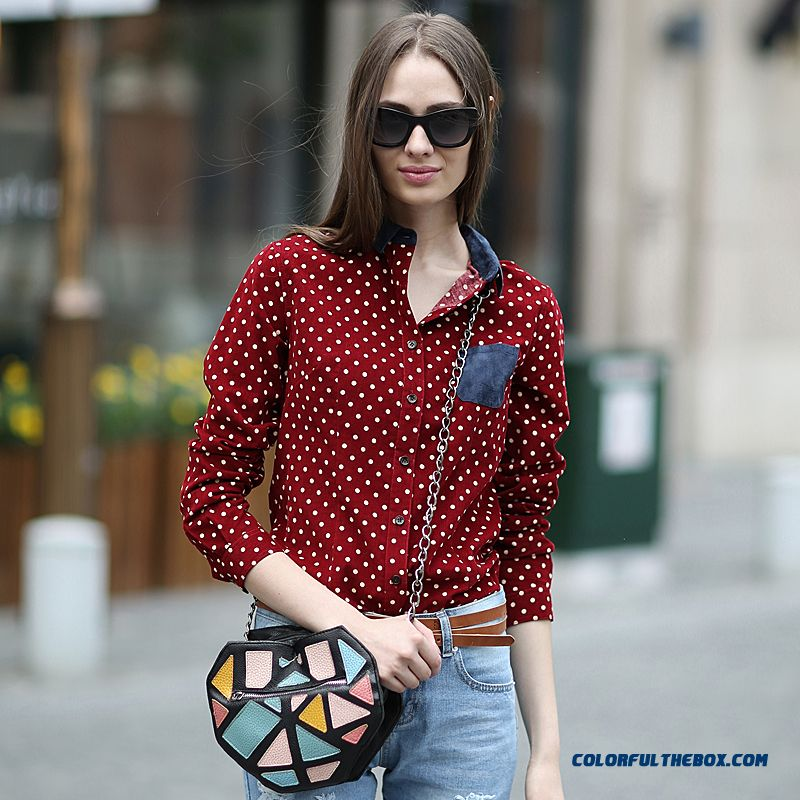 Retro Colors Hit Color Patch Pocket Stitching Design Polka Dot Women Shirts