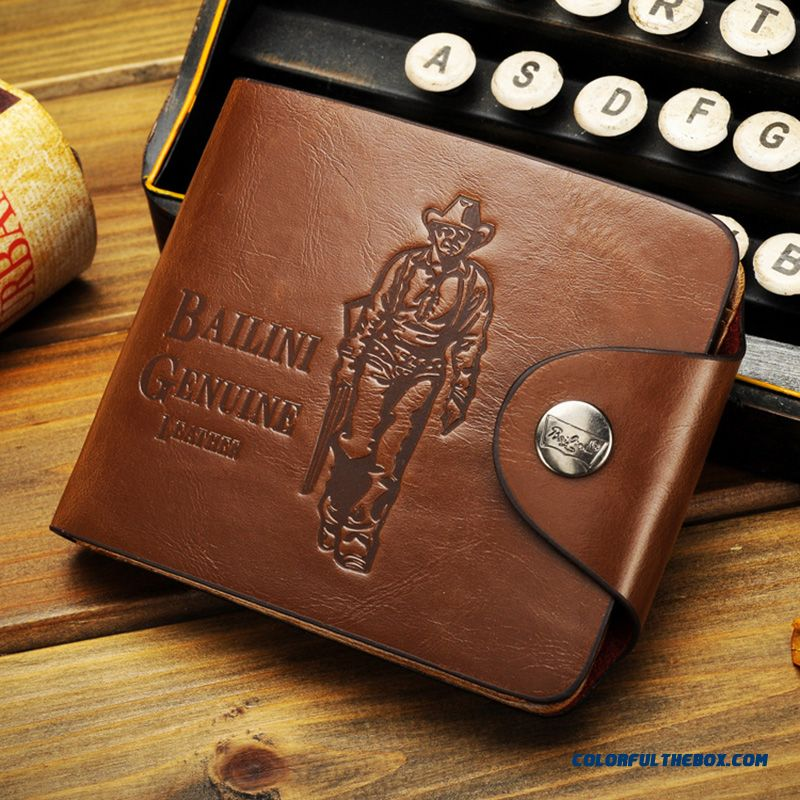 Retro Cowhide Men's Short Wallets Bags Multi-card Position Hasp Youth Personality Inside Zipper Horizontal Wallets