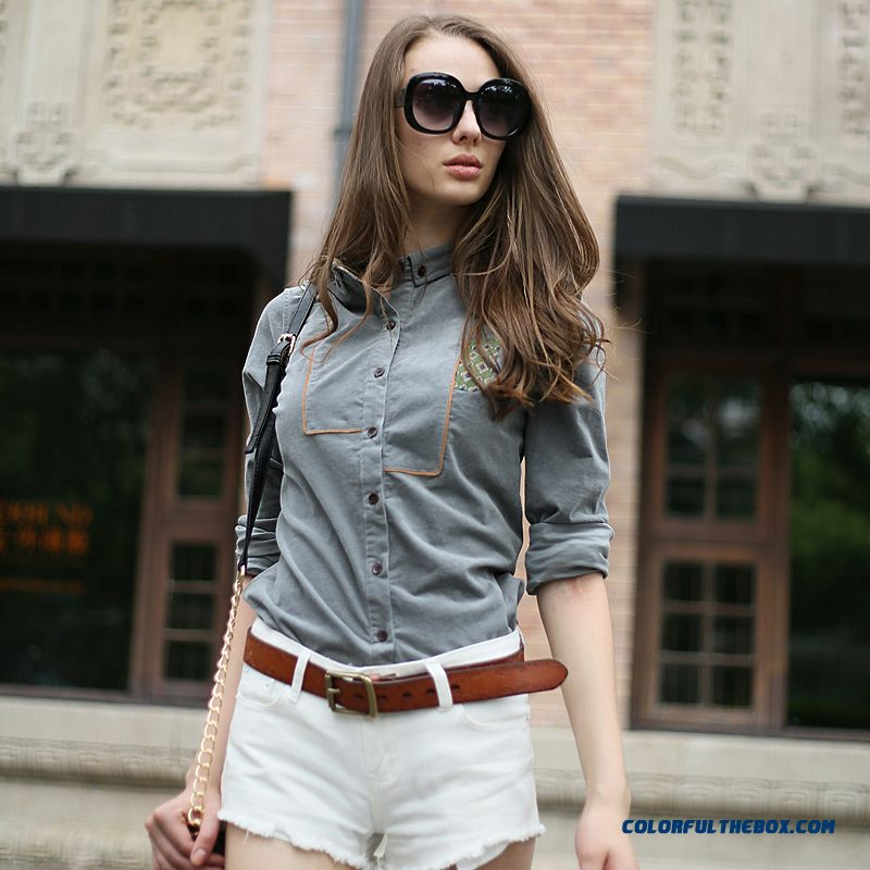 Retro Fashion Long-sleeved Corduroy Shirts Women Navy Blue Gray Red Wine - more images 1