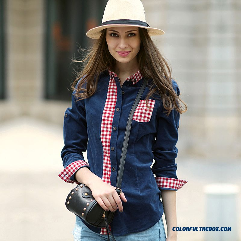 Retro Hit Color Stitching Casual Plaid Long-sleeve Corduroy Shirts Women Kin-friendly Fabrics Blouses Navy Blue + Red And White
