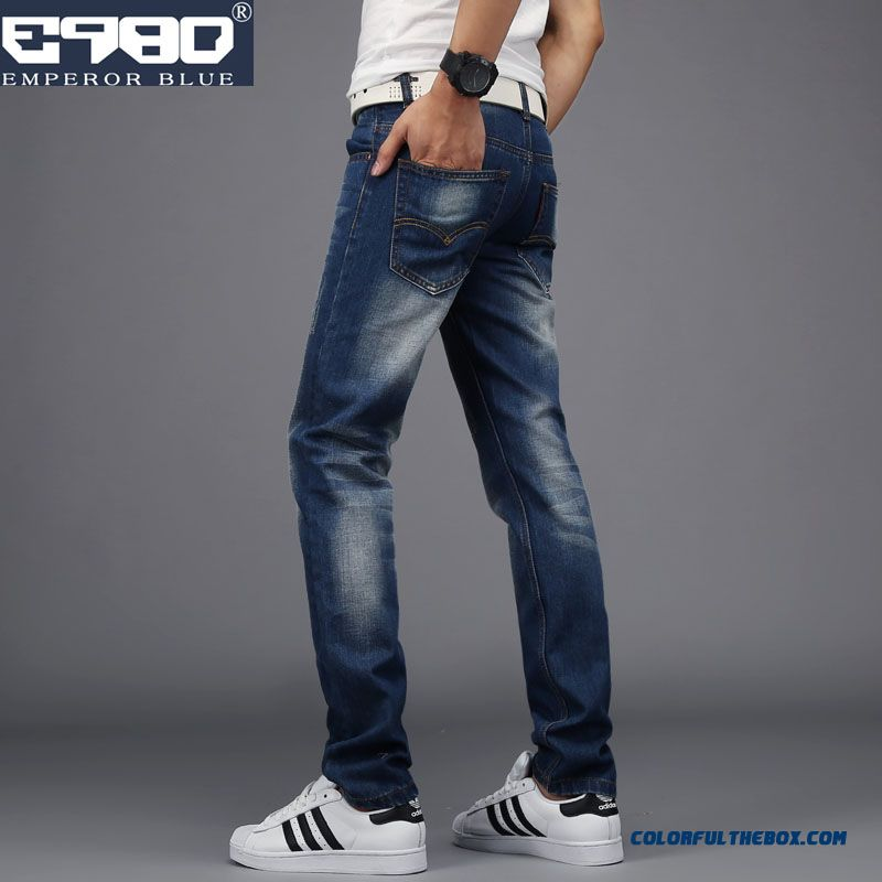 Retro Korean Vertion Of Men's Jeans Slim Straight Youth Casual Clothing