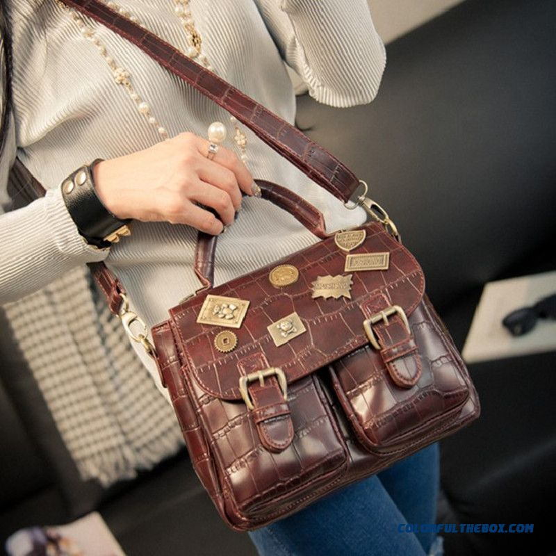 Retro Logo Messenger Bags Stone Pattern Women Shoulder Bags On Sale