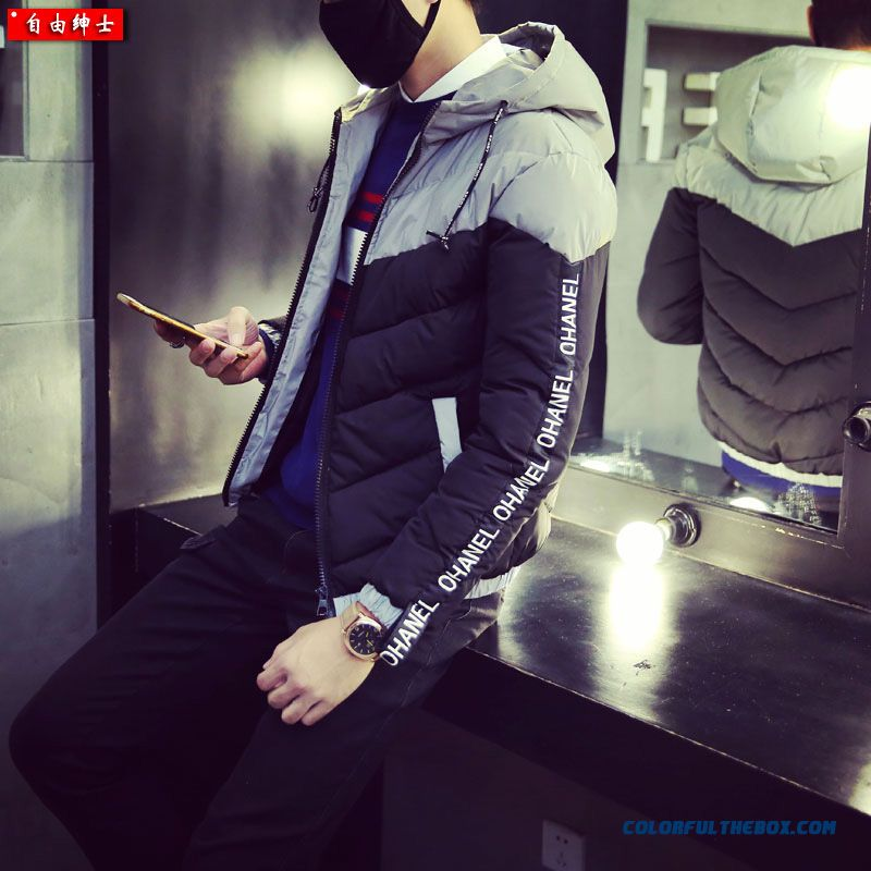 Retro Men Down Jacket Padded Short Thick Cotton Hooded Stitching Slim Tide