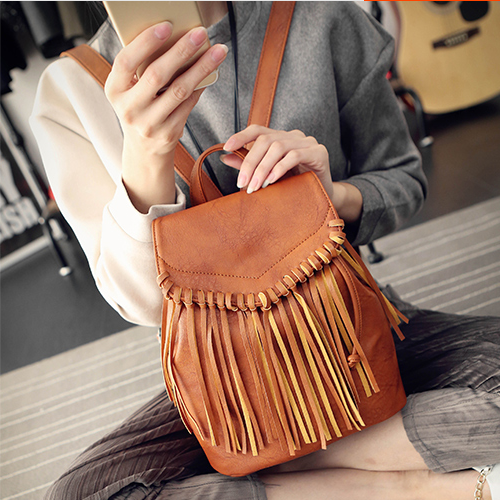 Retro New Ethnic Tassel Bucket Women Backpack Schoolbags Hot Sale