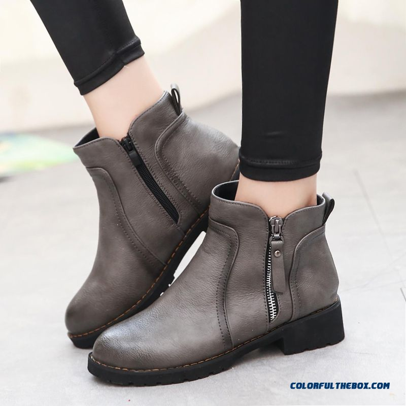 Cheap Retro New Winter Thick Low Heeled Round Toe Ankle