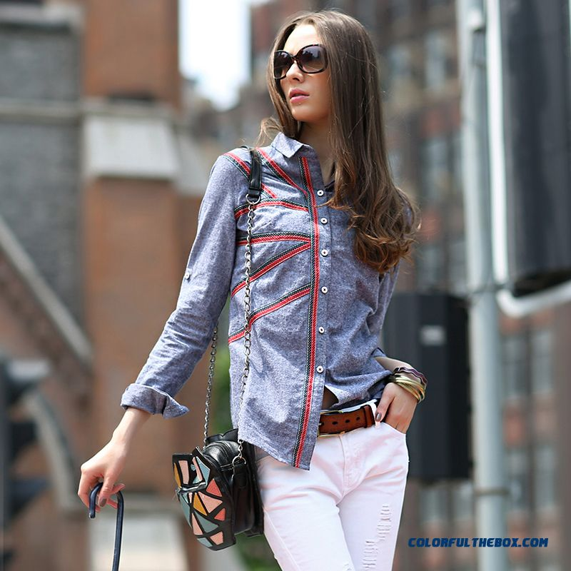 Retro Slim Casual Long-sleeved Cotton Oxford Shirts Private Label Counter Genuine Women Blouses