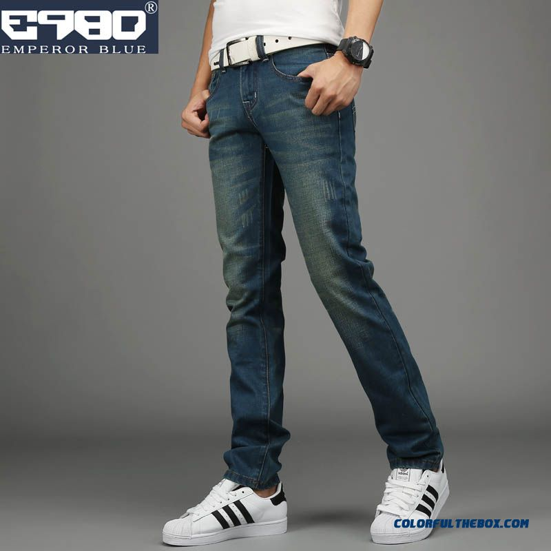 Retro Slim Straight Jeans Korean Version Casual Washed Clothing