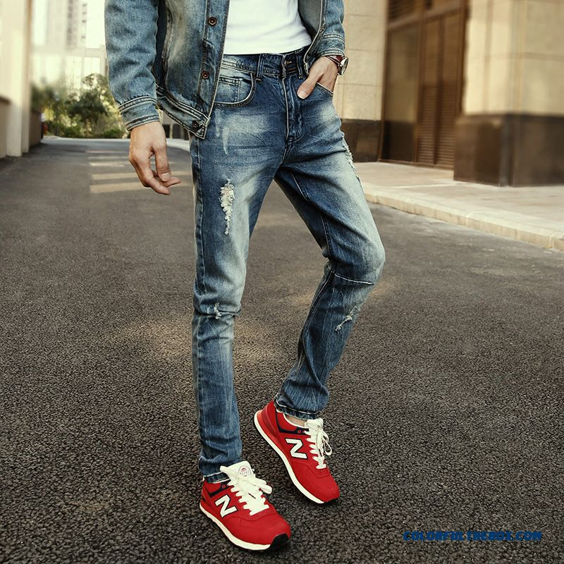 Retro Slim Straight Jeans Young Men Elastic Harem Pants