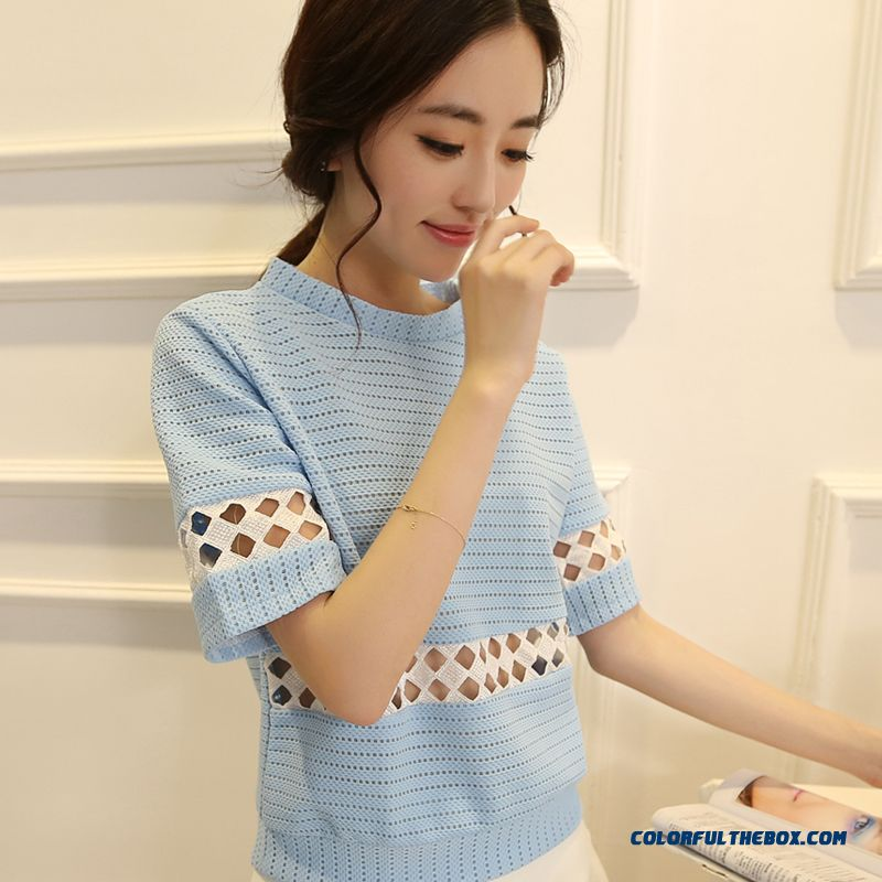 Retro Striped Short-sleeved T-shirt Women Loose Knit Openwork Women Hot Selling