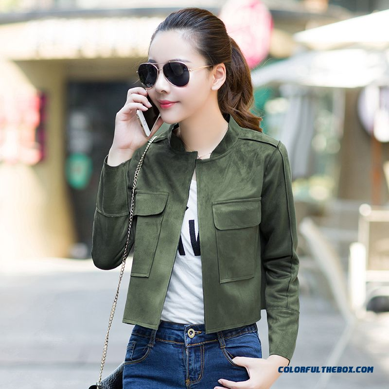 Retro Style Suede Composite Casual Short Jacket Lady Women Long-sleeved Coats