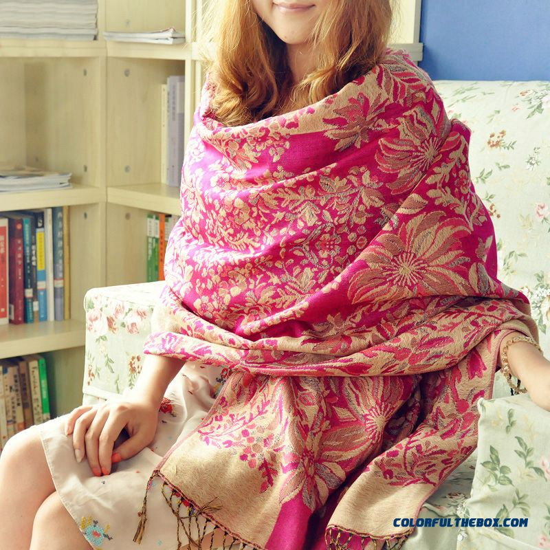 Rglt Air Conditioning Shawl Scarf Women Seasons Printed Linen Dual-purpose Shawl