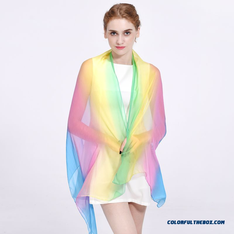 Rglt Brand Women New Hand-painted Silk Chiffon Mulberry Silk Rainbow Scarves Graded Color