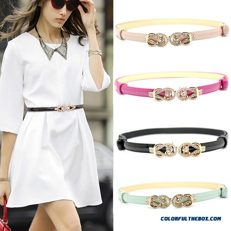 Rhinestone Buckle Candy Colored Patent Genuine Leather Thin Belt Ladies Women Accessories - more images 1