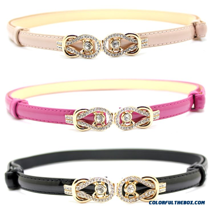 Rhinestone Buckle Candy Colored Patent Genuine Leather Thin Belt Ladies Women Accessories - more images 2